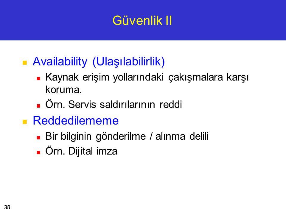 Güvenlik II Availability (Ulaşılabilirlik) Reddedilememe