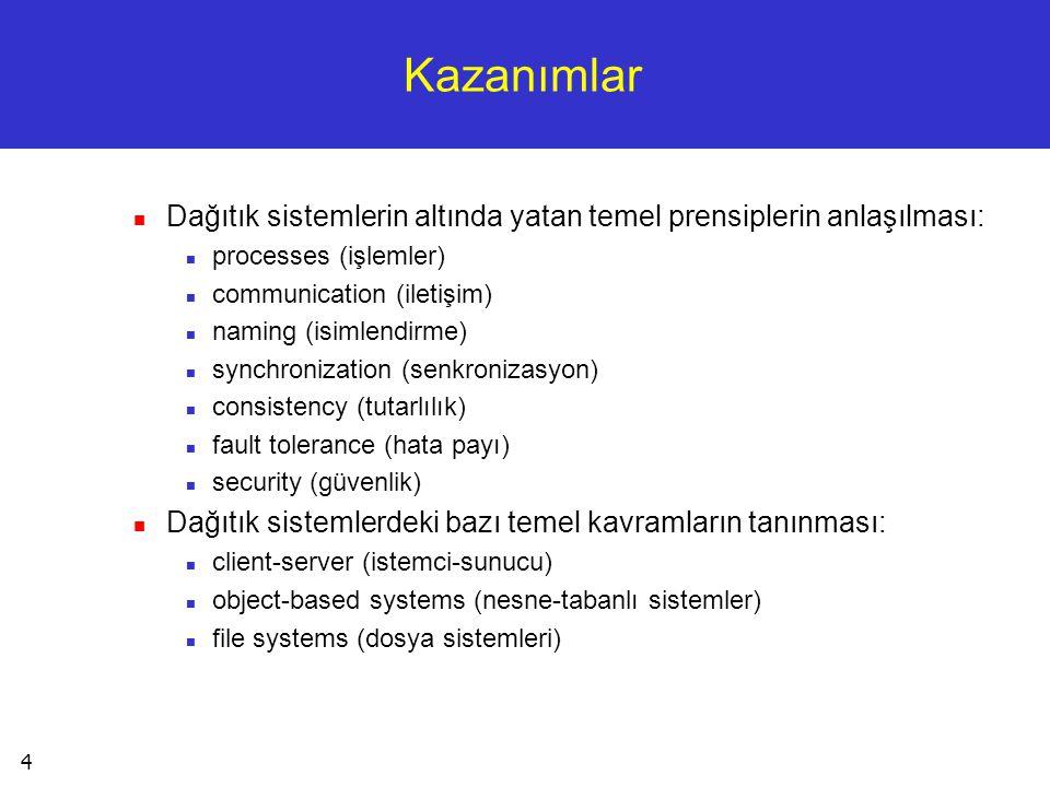 Kazanımlar Dağıtık sistemlerin altında yatan temel prensiplerin anlaşılması: processes (işlemler) communication (iletişim)
