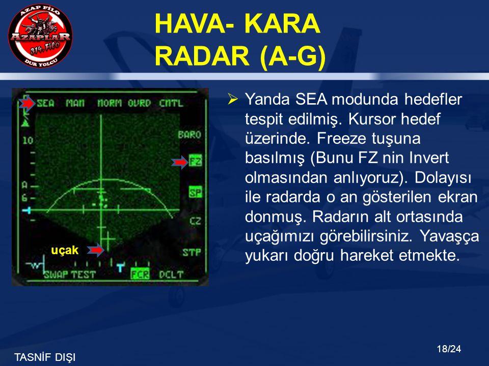 Yanda SEA modunda hedefler tespit edilmiş. Kursor hedef üzerinde