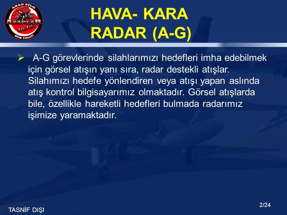 A-G görevlerinde silahlarımızı hedefleri imha edebilmek için görsel atışın yanı sıra, radar destekli atışlar.