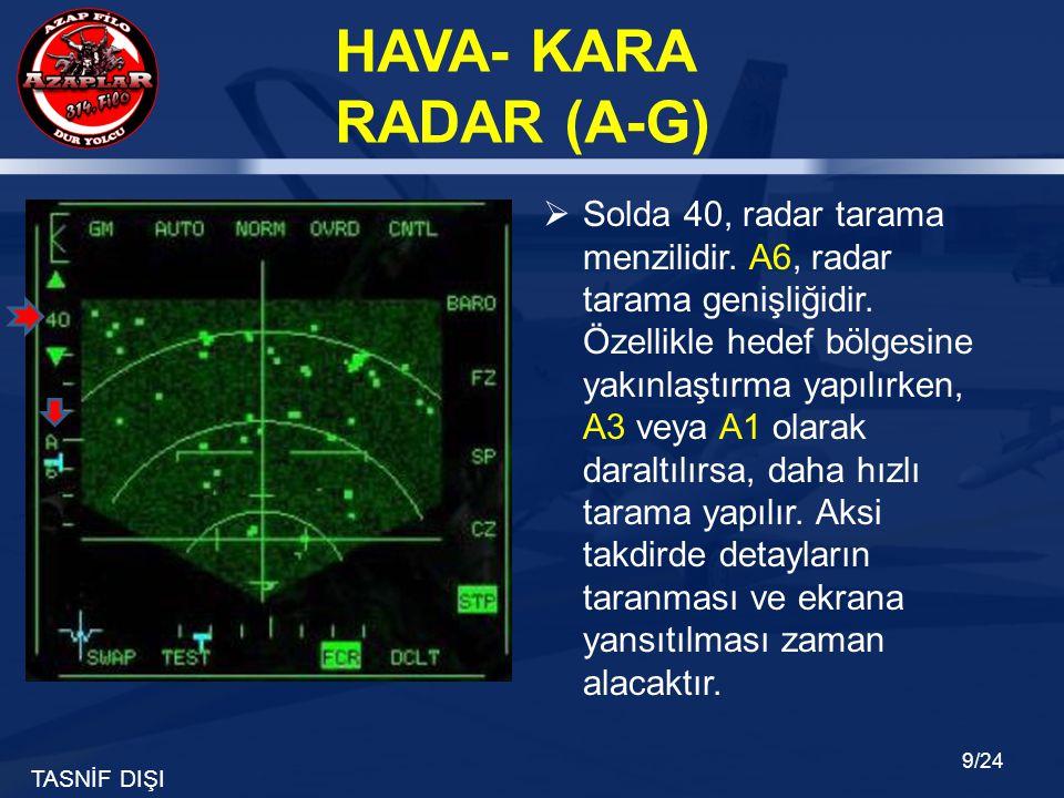 Solda 40, radar tarama menzilidir. A6, radar tarama genişliğidir