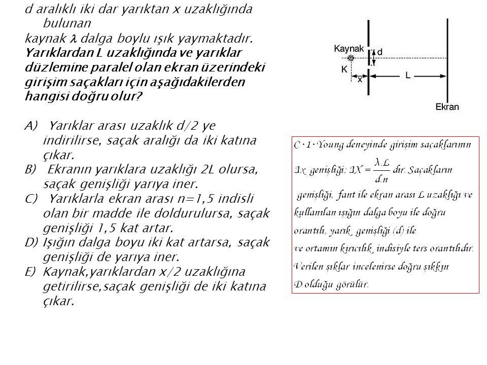 d aralıklı iki dar yarıktan x uzaklığında bulunan