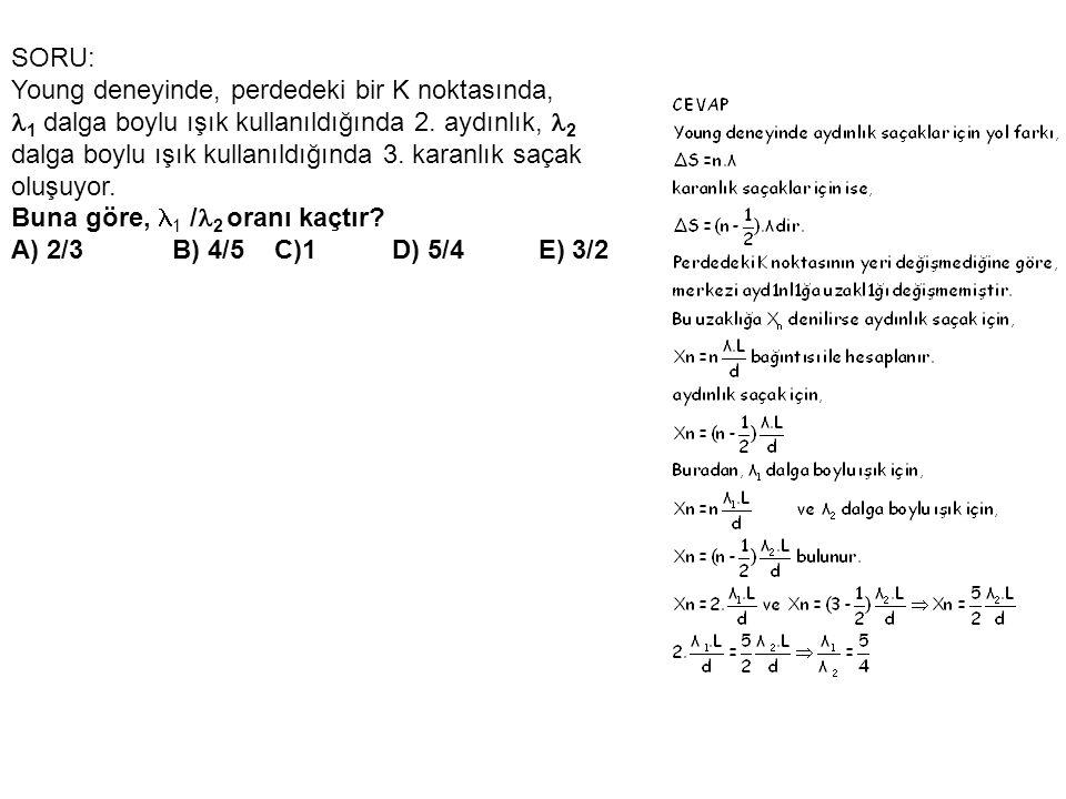 SORU: Young deneyinde, perdedeki bir K noktasında, 1 dalga boylu ışık kullanıldığında 2. aydınlık, 2.