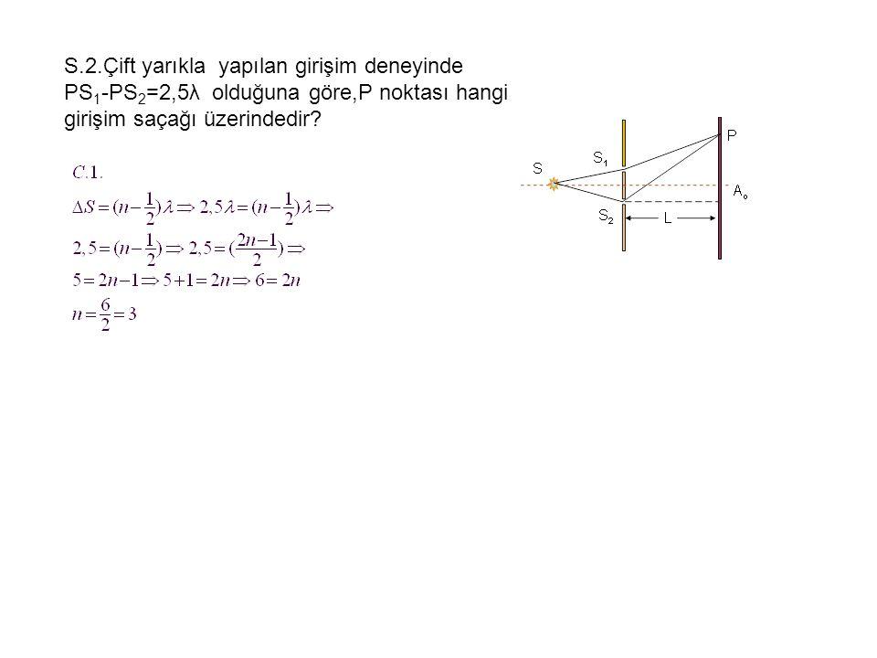 S.2.Çift yarıkla yapılan girişim deneyinde PS1-PS2=2,5λ olduğuna göre,P noktası hangi girişim saçağı üzerindedir