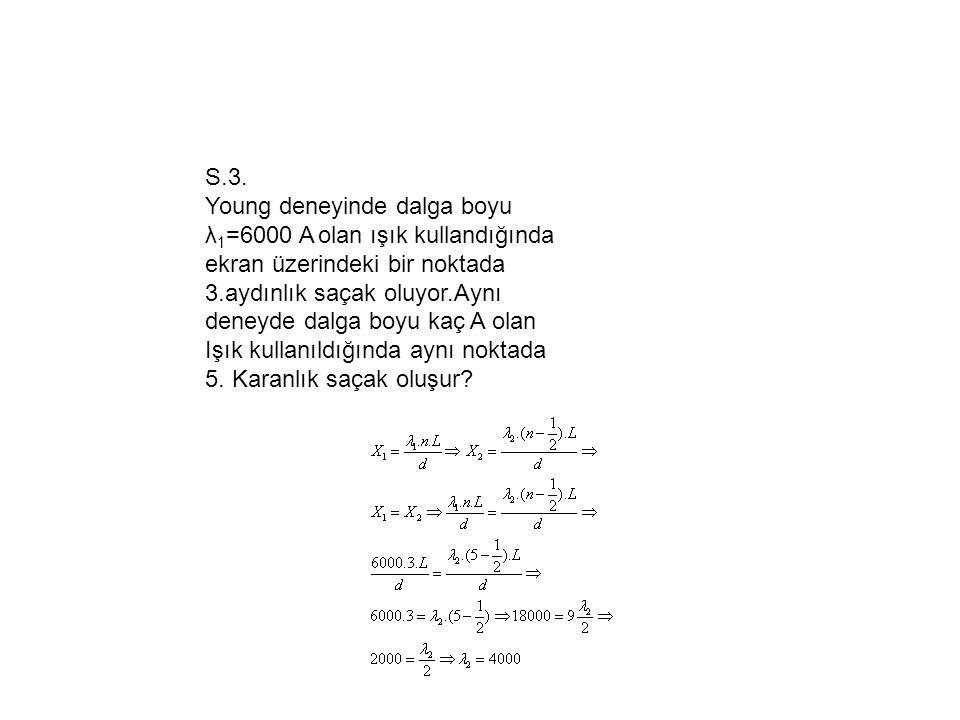 S.3. Young deneyinde dalga boyu λ1=6000 A olan ışık kullandığında.
