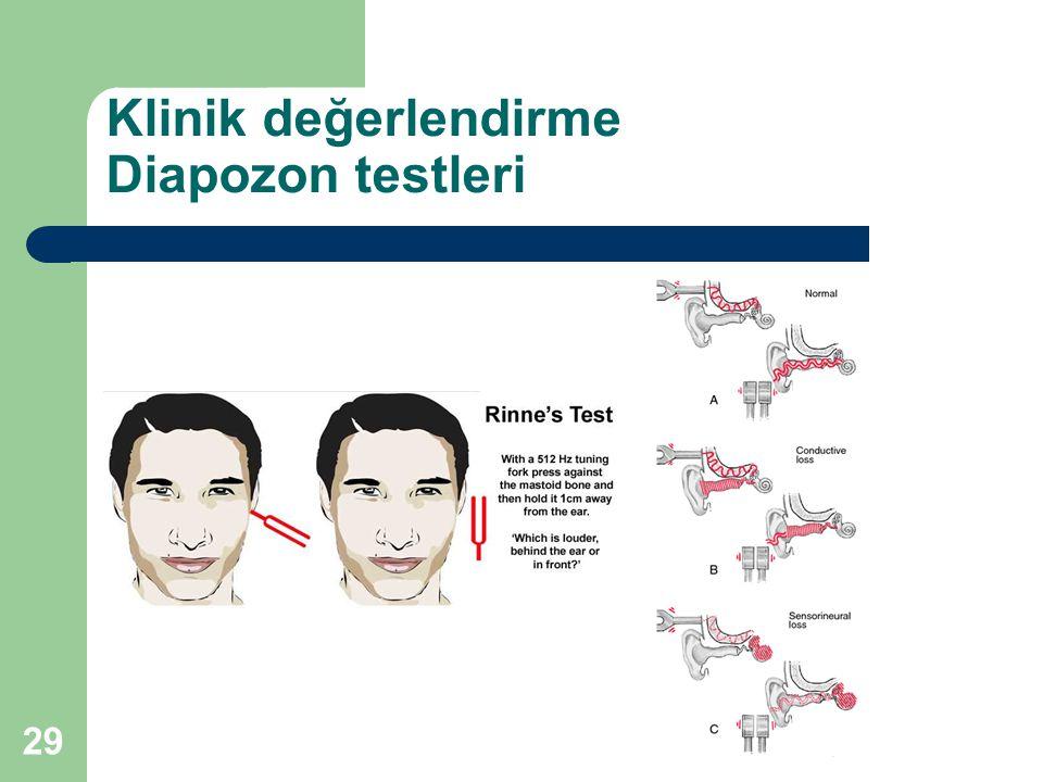 Klinik değerlendirme Diapozon testleri