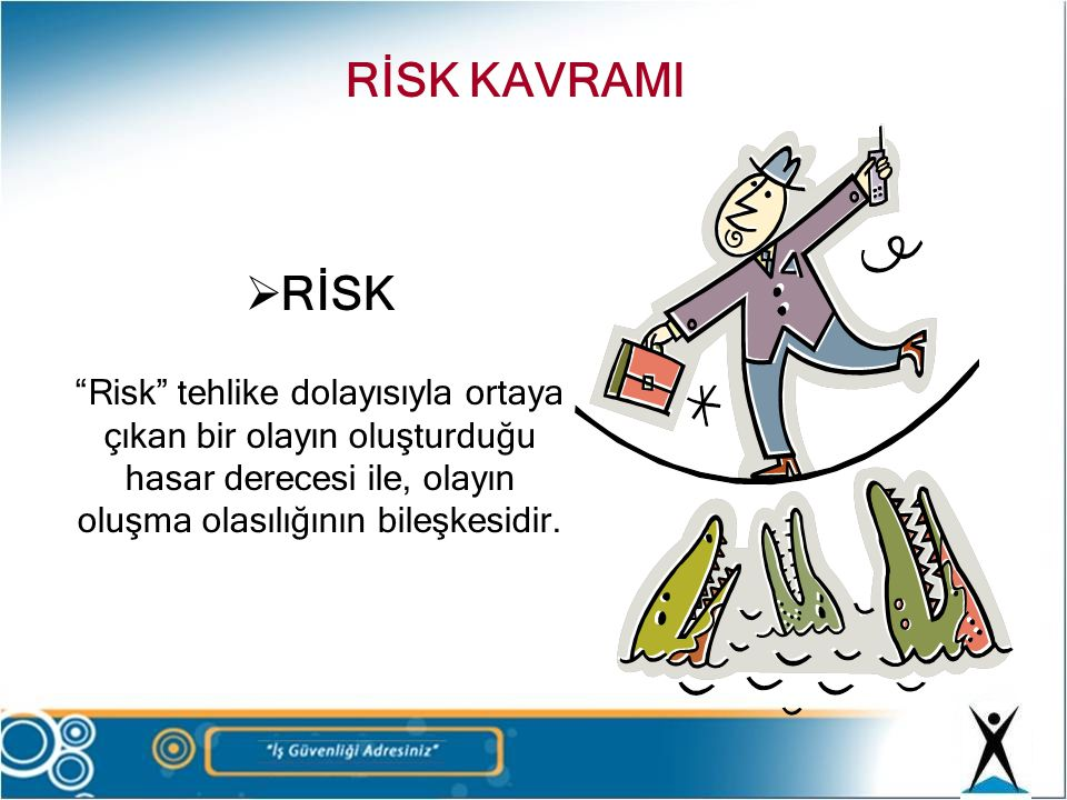 RİSK KAVRAMI RİSK. Risk tehlike dolayısıyla ortaya çıkan bir olayın oluşturduğu hasar derecesi ile, olayın oluşma olasılığının bileşkesidir.