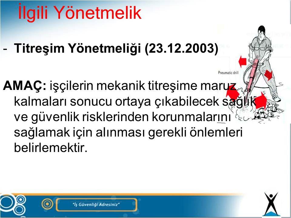 İlgili Yönetmelik Titreşim Yönetmeliği (23.12.2003)