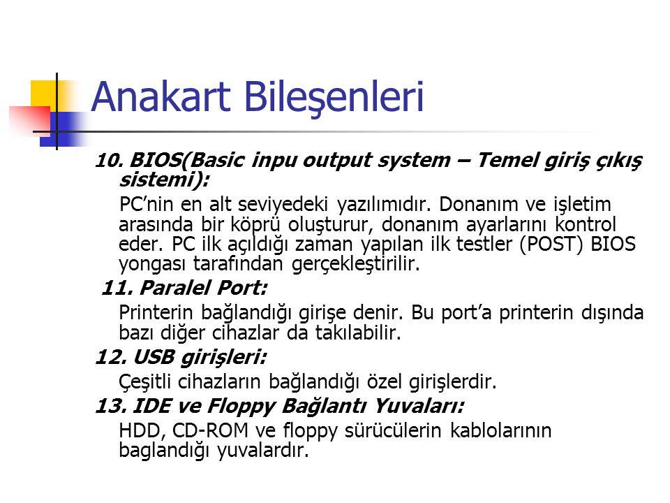 Anakart Bileşenleri 10. BIOS(Basic inpu output system – Temel giriş çıkış sistemi):