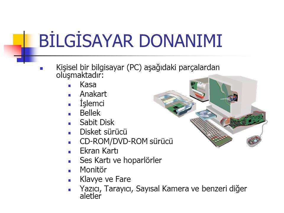 BİLGİSAYAR DONANIMI Kişisel bir bilgisayar (PC) aşağıdaki parçalardan oluşmaktadır: Kasa. Anakart.