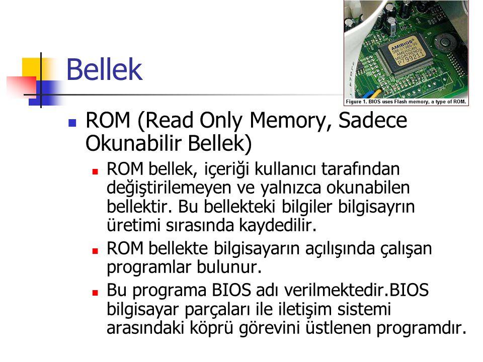 Bellek ROM (Read Only Memory, Sadece Okunabilir Bellek)