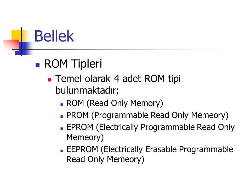 Bellek ROM Tipleri Temel olarak 4 adet ROM tipi bulunmaktadır;