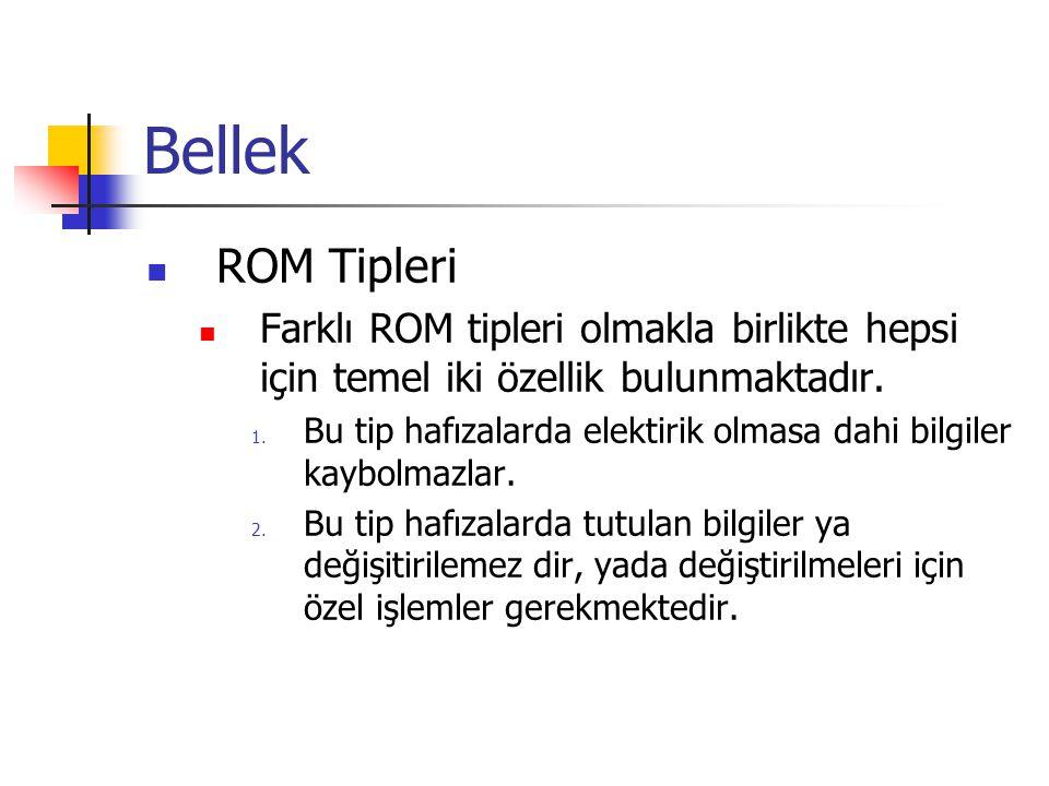 Bellek ROM Tipleri. Farklı ROM tipleri olmakla birlikte hepsi için temel iki özellik bulunmaktadır.
