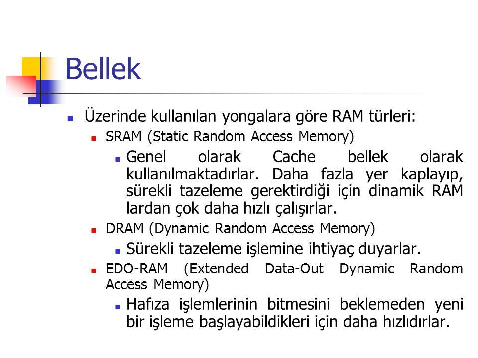 Bellek Üzerinde kullanılan yongalara göre RAM türleri:
