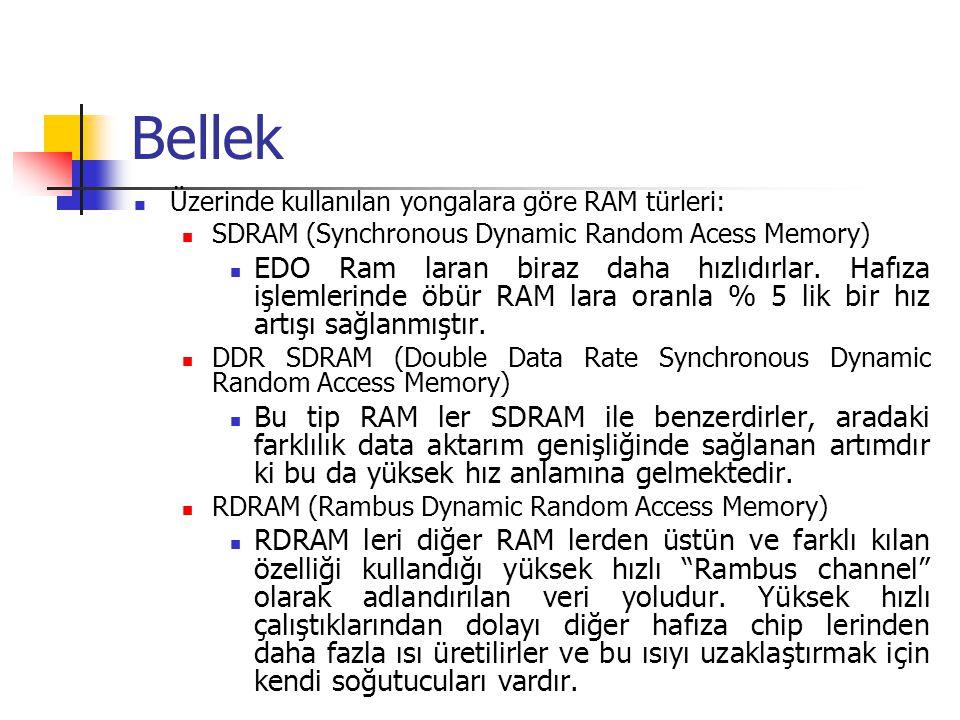 Bellek Üzerinde kullanılan yongalara göre RAM türleri: SDRAM (Synchronous Dynamic Random Acess Memory)