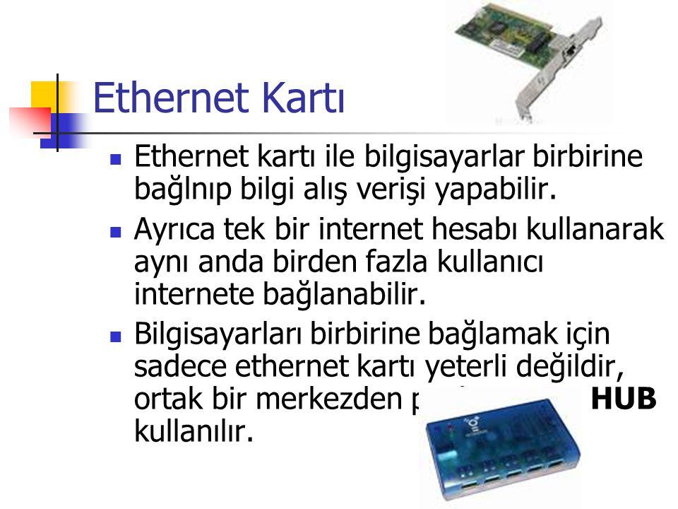 Ethernet Kartı Ethernet kartı ile bilgisayarlar birbirine bağlnıp bilgi alış verişi yapabilir.