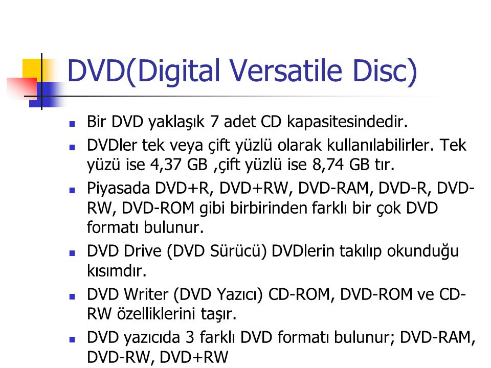 DVD(Digital Versatile Disc)