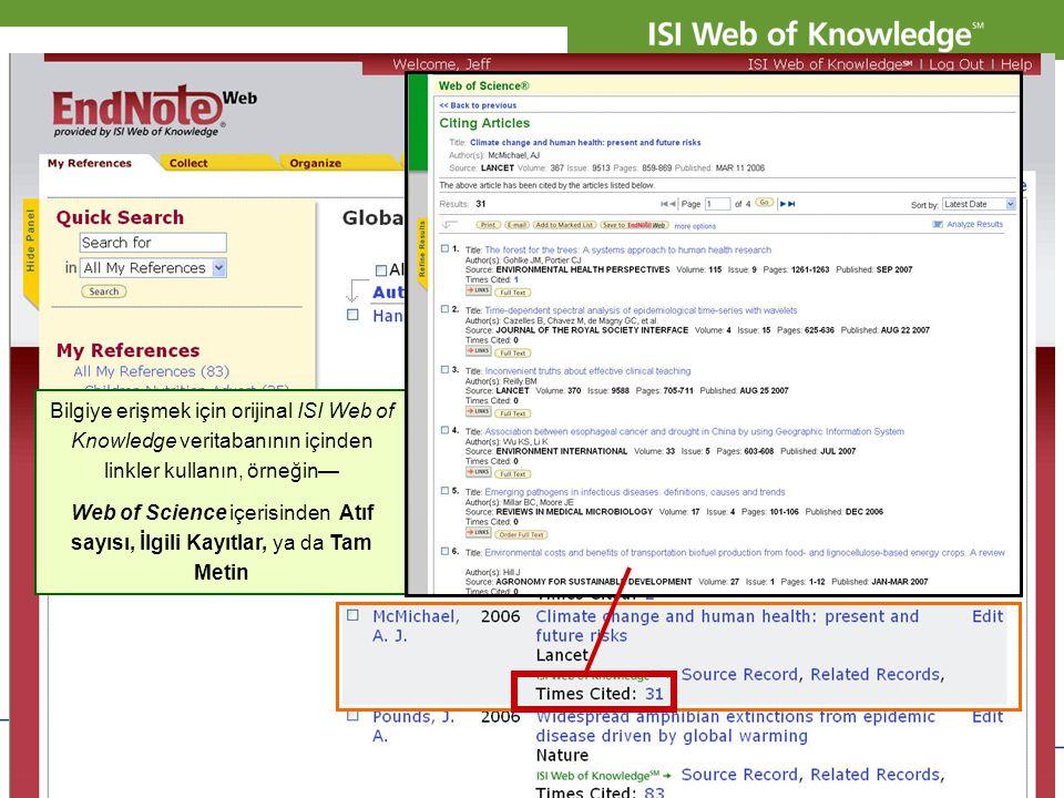 Bilgiye erişmek için orijinal ISI Web of Knowledge veritabanının içinden linkler kullanın, örneğin—