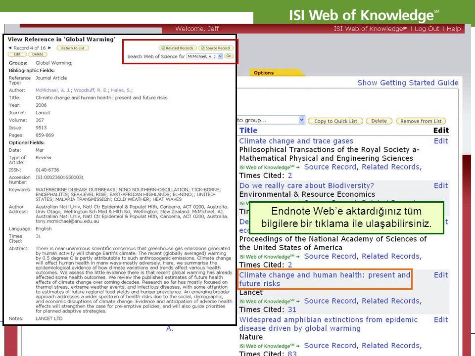 Endnote Web'e aktardığınız tüm bilgilere bir tıklama ile ulaşabilirsiniz.