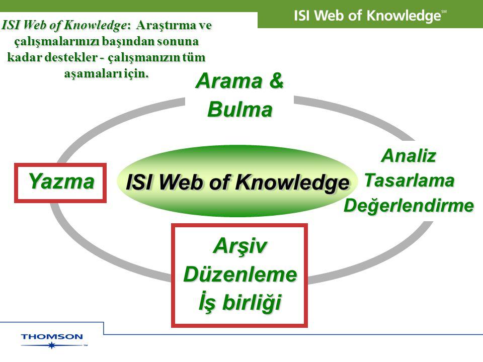 Arama & Bulma Yazma ISI Web of Knowledge Arşiv Düzenleme İş birliği