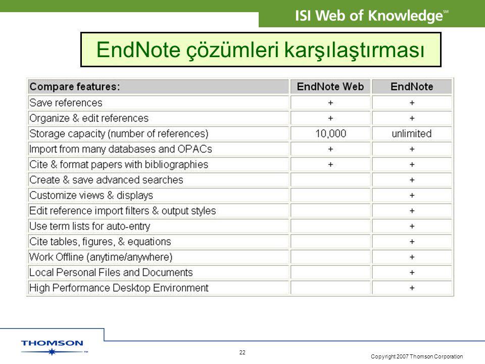 EndNote çözümleri karşılaştırması