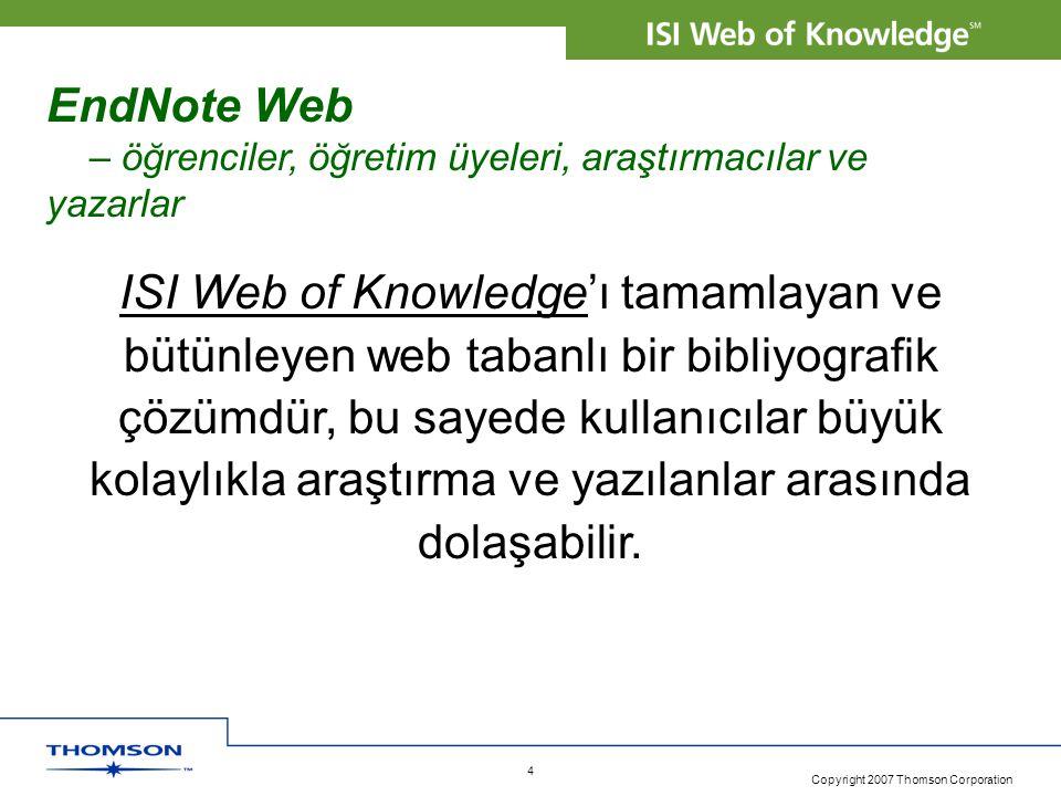 EndNote Web – öğrenciler, öğretim üyeleri, araştırmacılar ve yazarlar.