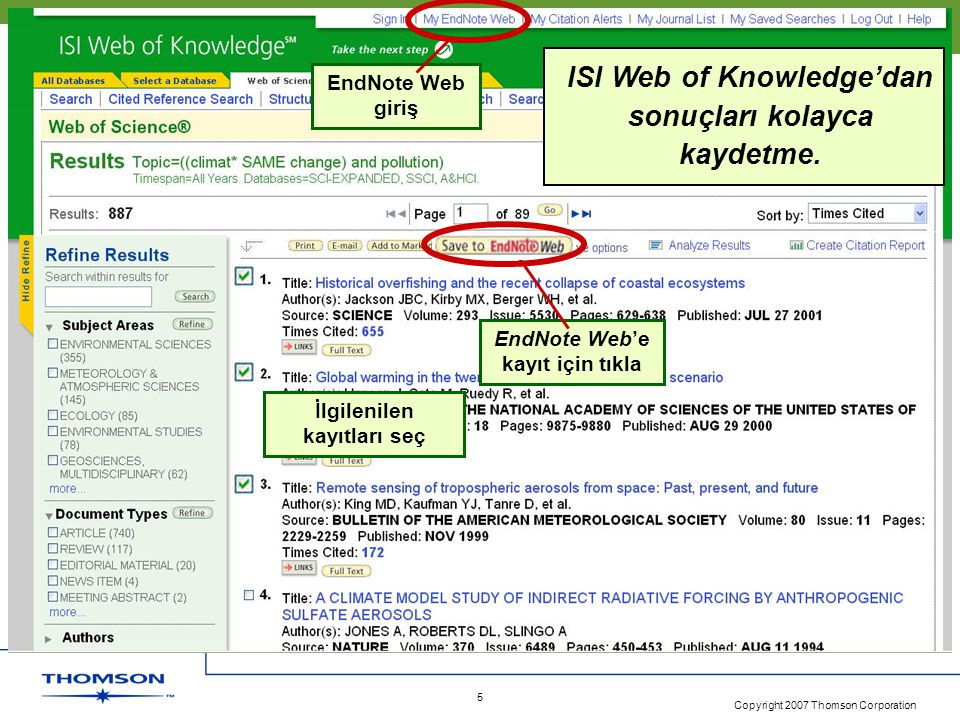 ISI Web of Knowledge'dan sonuçları kolayca kaydetme.