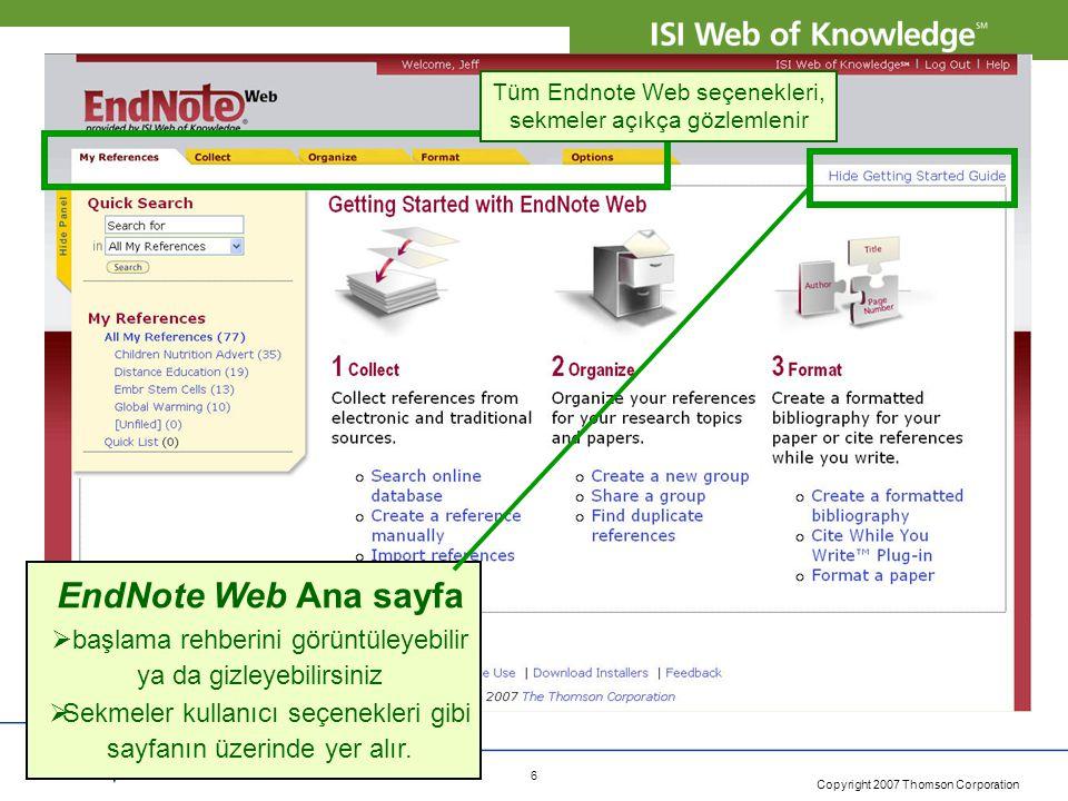 Tüm Endnote Web seçenekleri, sekmeler açıkça gözlemlenir