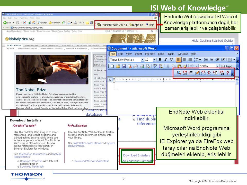 EndNote Web eklentisi indirilebilir.