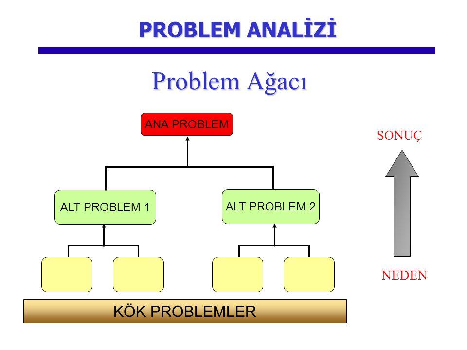Problem Ağacı PROBLEM ANALİZİ KÖK PROBLEMLER SONUÇ NEDEN ANA PROBLEM