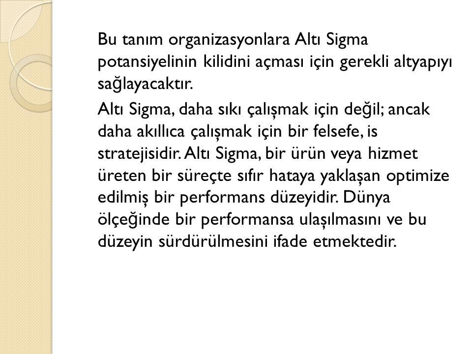Bu tanım organizasyonlara Altı Sigma potansiyelinin kilidini açması için gerekli altyapıyı sağlayacaktır.