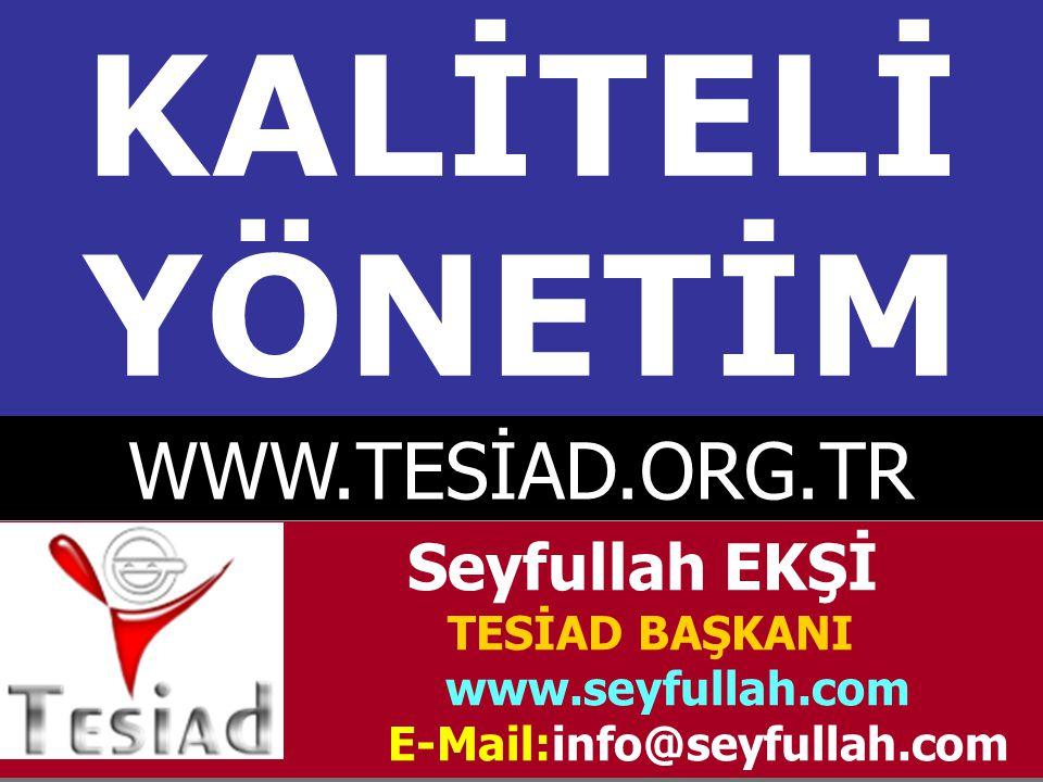 KALİTELİ YÖNETİM WWW.TESİAD.ORG.TR Seyfullah EKŞİ TESİAD BAŞKANI