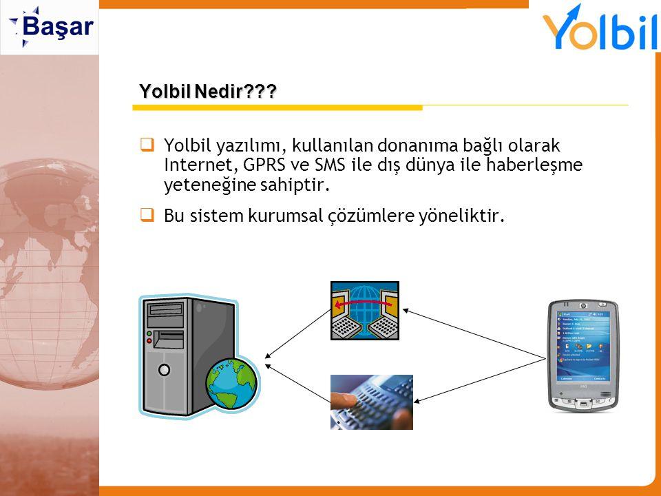 Yolbil Nedir Yolbil yazılımı, kullanılan donanıma bağlı olarak Internet, GPRS ve SMS ile dış dünya ile haberleşme yeteneğine sahiptir.
