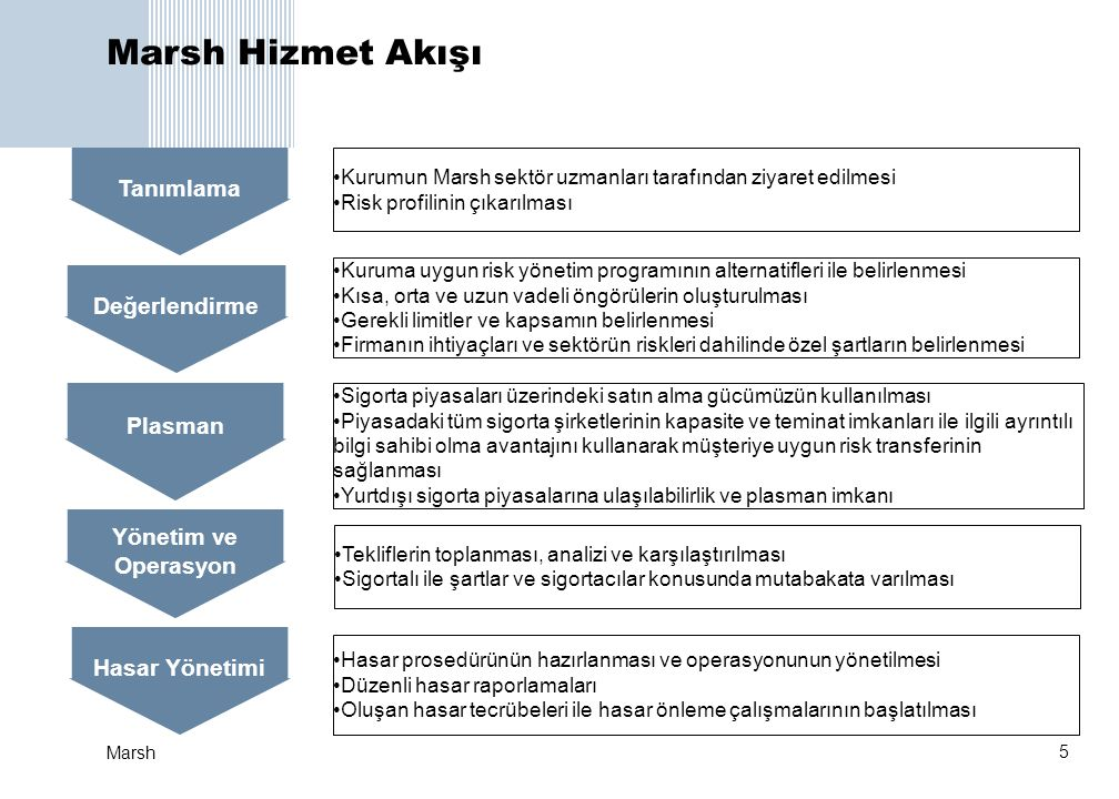Marsh Hizmet Akışı Tanımlama Değerlendirme Plasman Yönetim ve