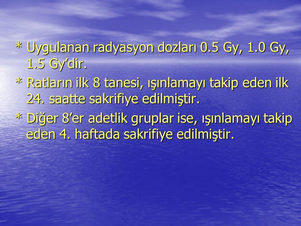 * Uygulanan radyasyon dozları 0.5 Gy, 1.0 Gy, 1.5 Gy'dir.