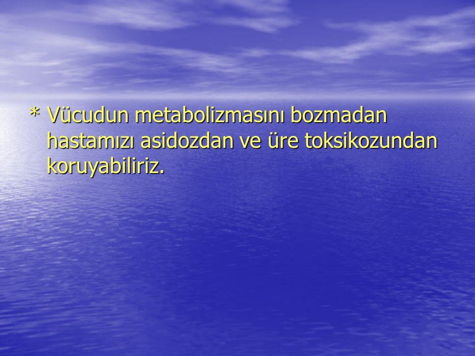 * Vücudun metabolizmasını bozmadan hastamızı asidozdan ve üre toksikozundan koruyabiliriz.