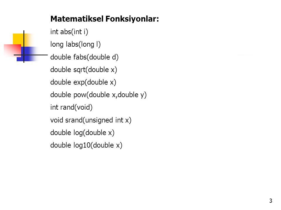 Matematiksel Fonksiyonlar: