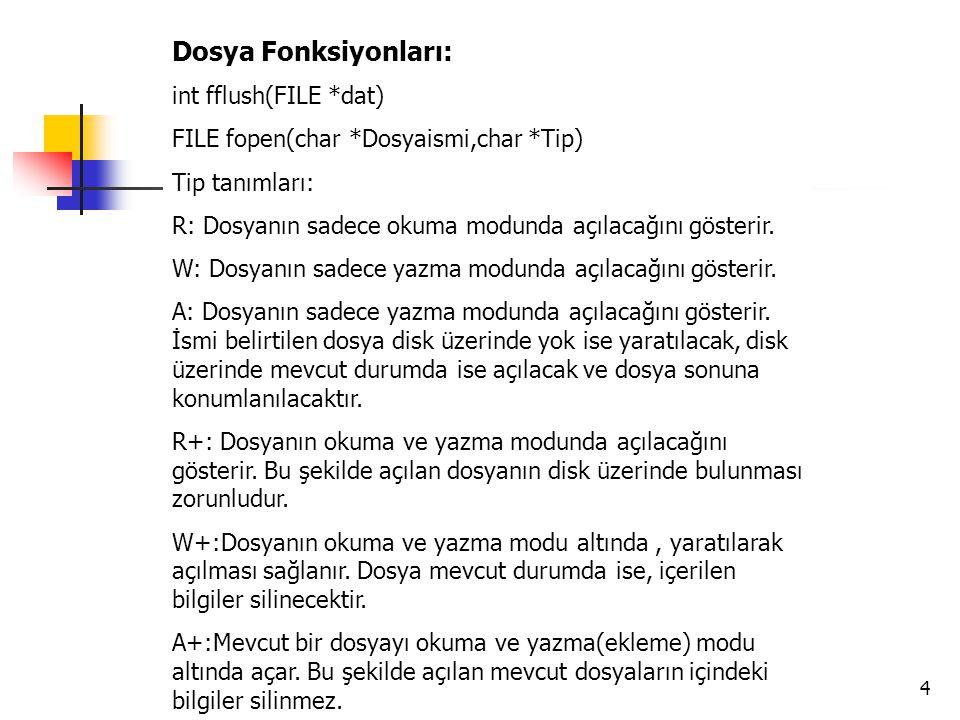 Dosya Fonksiyonları: int fflush(FILE *dat)