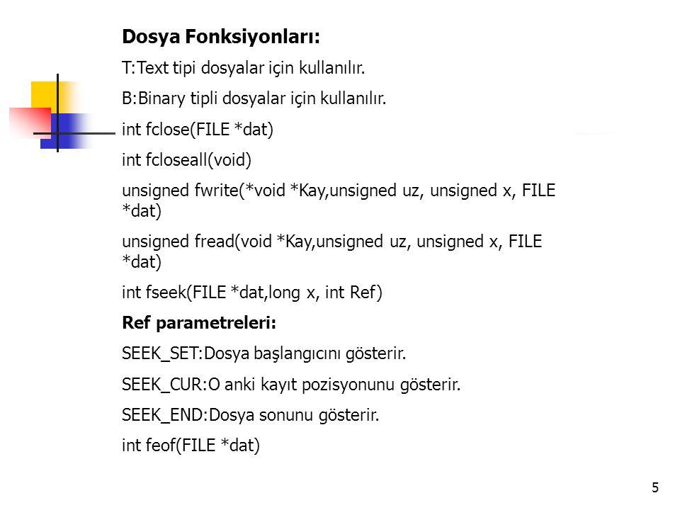Dosya Fonksiyonları: T:Text tipi dosyalar için kullanılır.