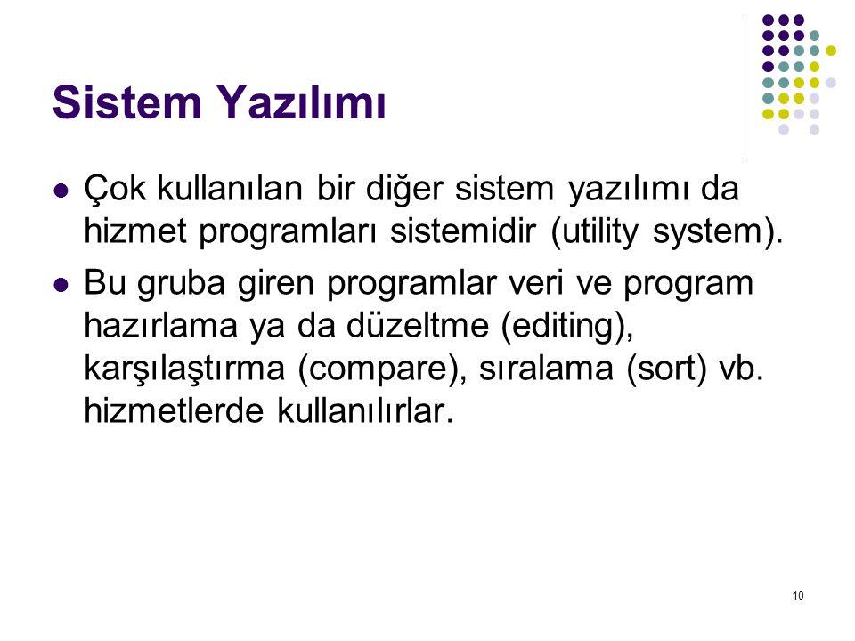 Sistem Yazılımı Çok kullanılan bir diğer sistem yazılımı da hizmet programları sistemidir (utility system).