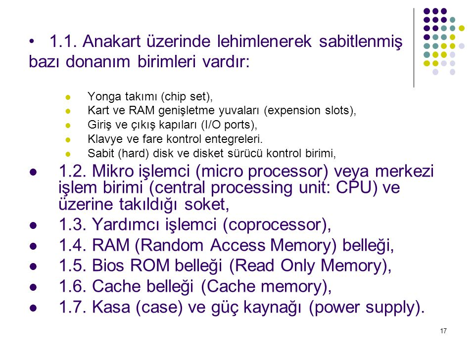1.3. Yardımcı işlemci (coprocessor),