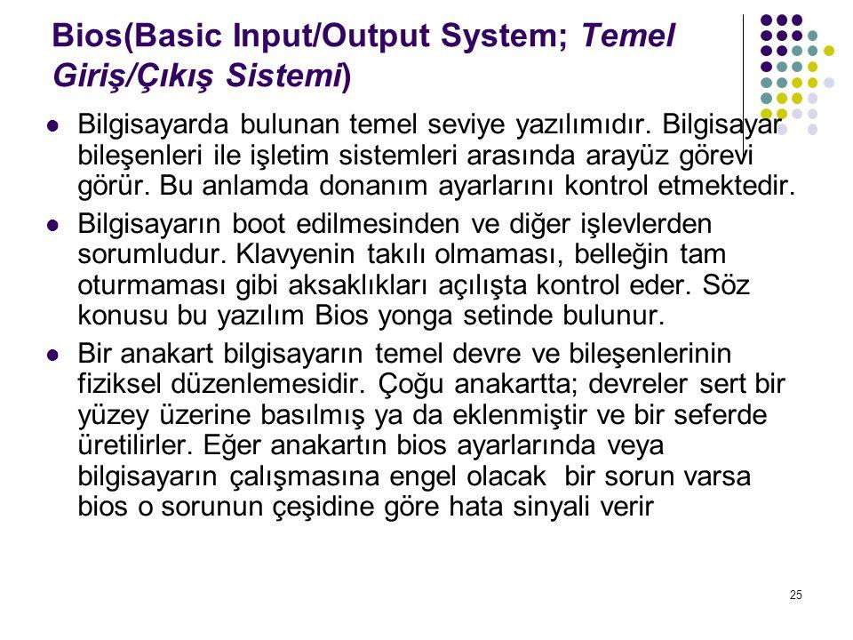 Bios(Basic Input/Output System; Temel Giriş/Çıkış Sistemi)