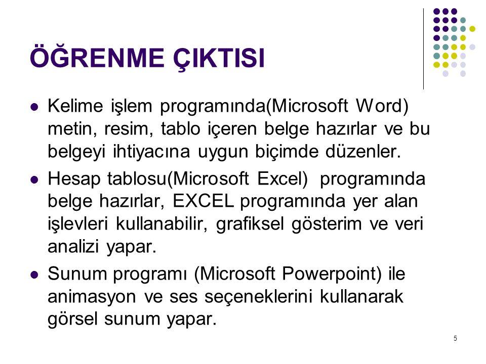 ÖĞRENME ÇIKTISI Kelime işlem programında(Microsoft Word) metin, resim, tablo içeren belge hazırlar ve bu belgeyi ihtiyacına uygun biçimde düzenler.