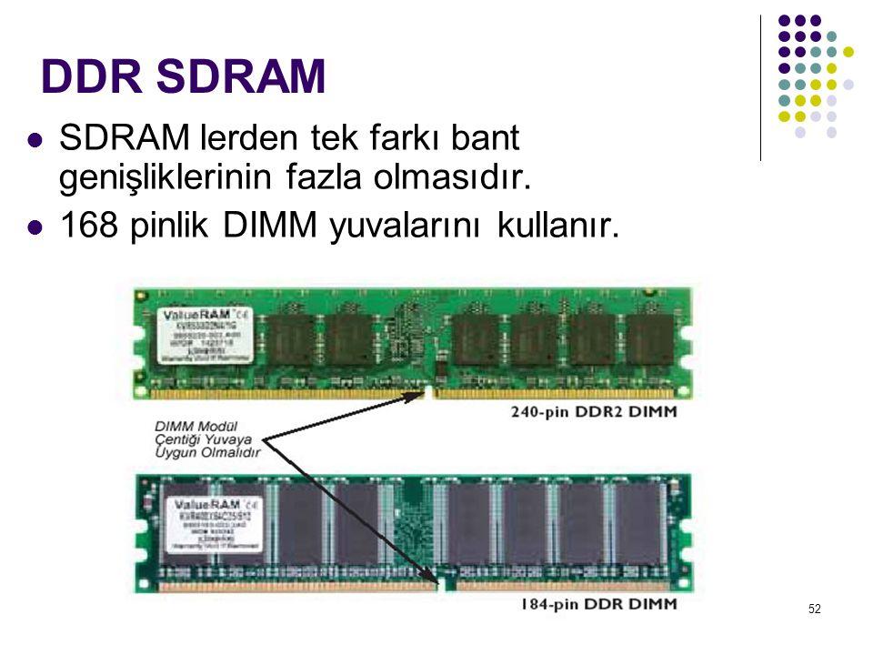 DDR SDRAM SDRAM lerden tek farkı bant genişliklerinin fazla olmasıdır.