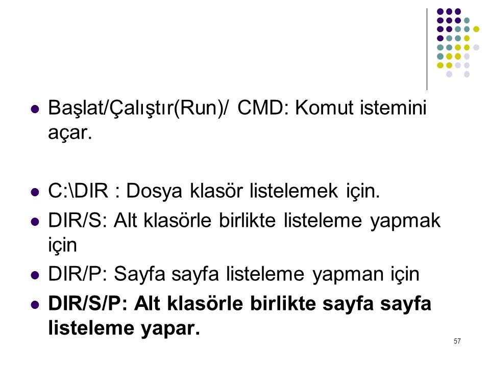 Başlat/Çalıştır(Run)/ CMD: Komut istemini açar.
