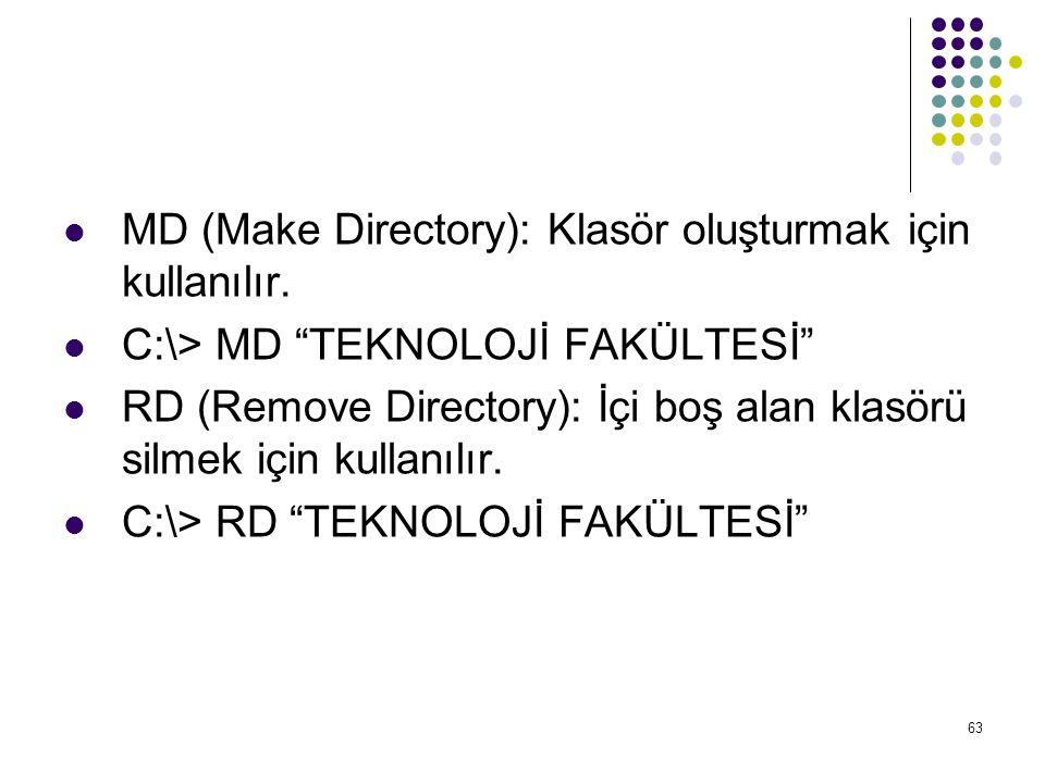 MD (Make Directory): Klasör oluşturmak için kullanılır.