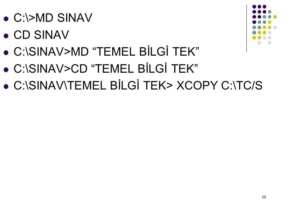 C:\>MD SINAV CD SINAV.