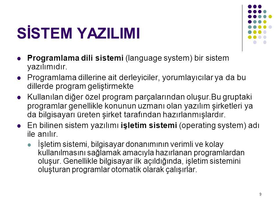 SİSTEM YAZILIMI Programlama dili sistemi (language system) bir sistem yazılımıdır.