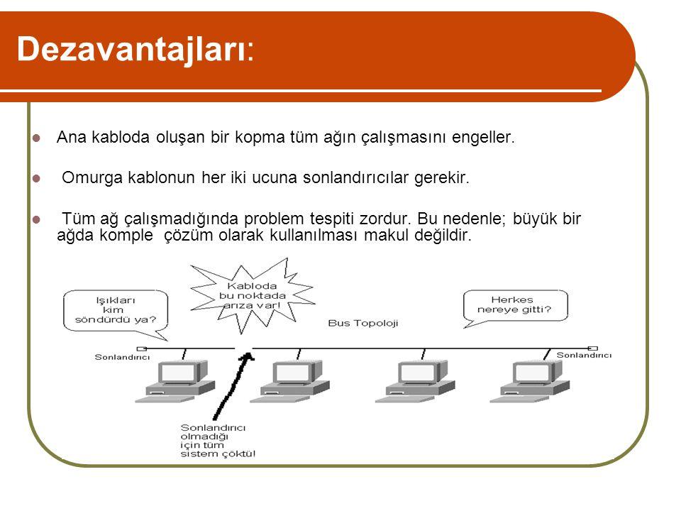 Dezavantajları: Ana kabloda oluşan bir kopma tüm ağın çalışmasını engeller. Omurga kablonun her iki ucuna sonlandırıcılar gerekir.