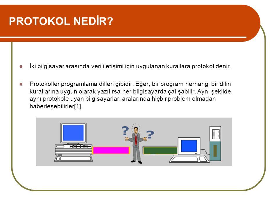 PROTOKOL NEDİR İki bilgisayar arasında veri iletişimi için uygulanan kurallara protokol denir.